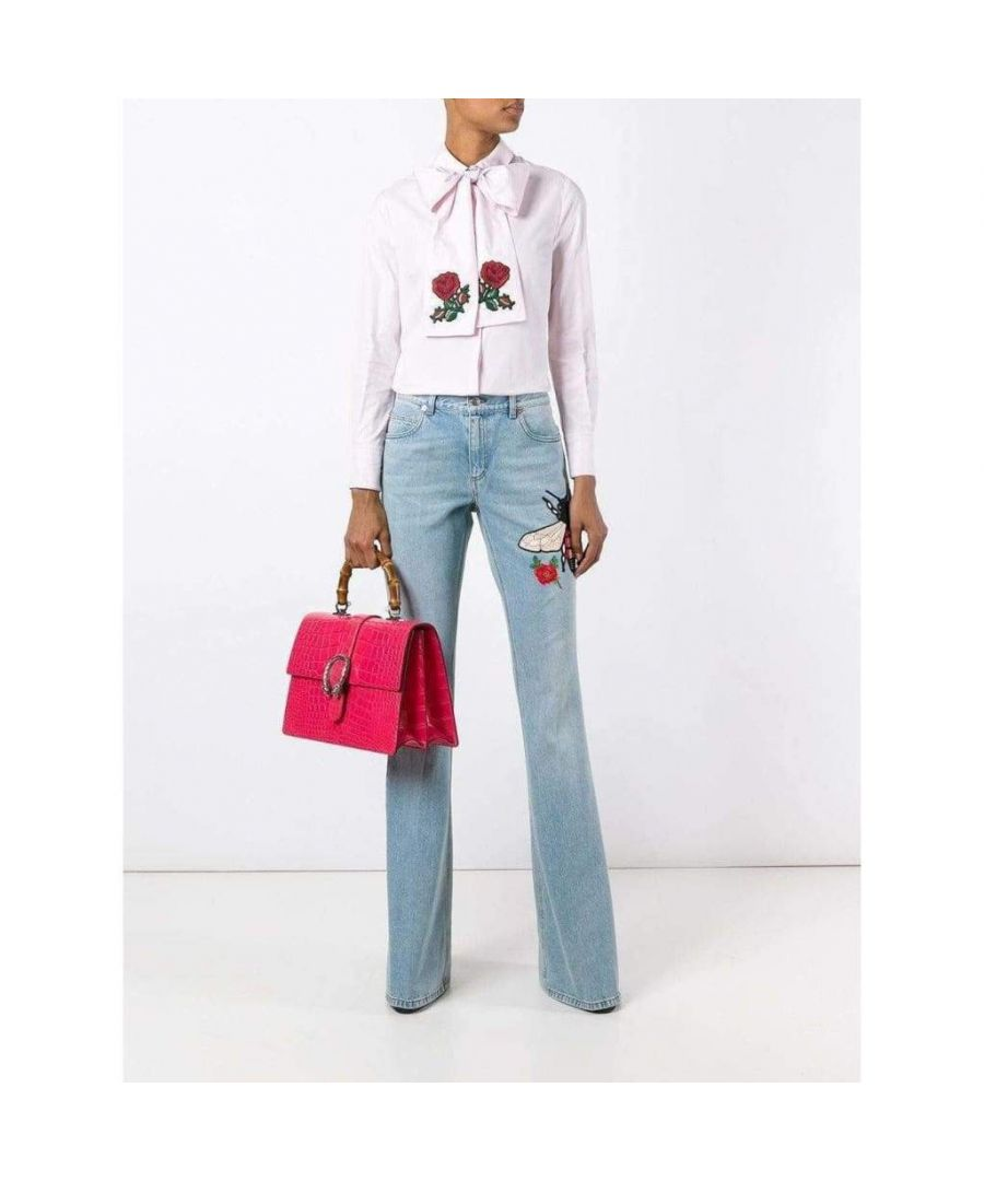 Image for Gucci Fly Embroidered Flared Cotton Jeans