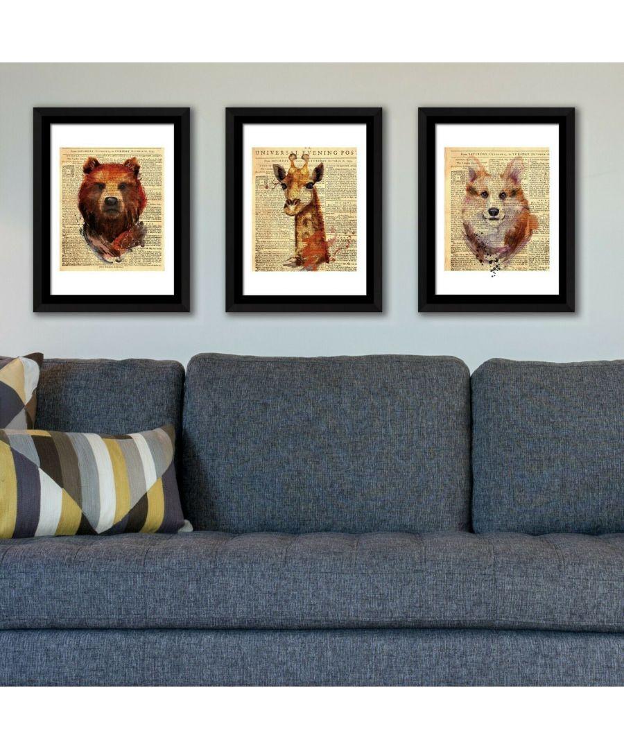 Image for Framed Art  2in1 Bear, Fox &  Giraffe Newspaper Animal Poster Framed Photo, Framed Art