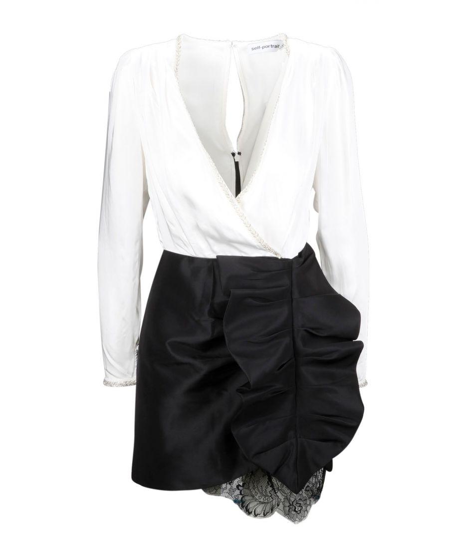 Image for SELF-PORTRAIT WOMEN'S SP23090DIVORYBLACK MULTICOLOR POLYESTER DRESS