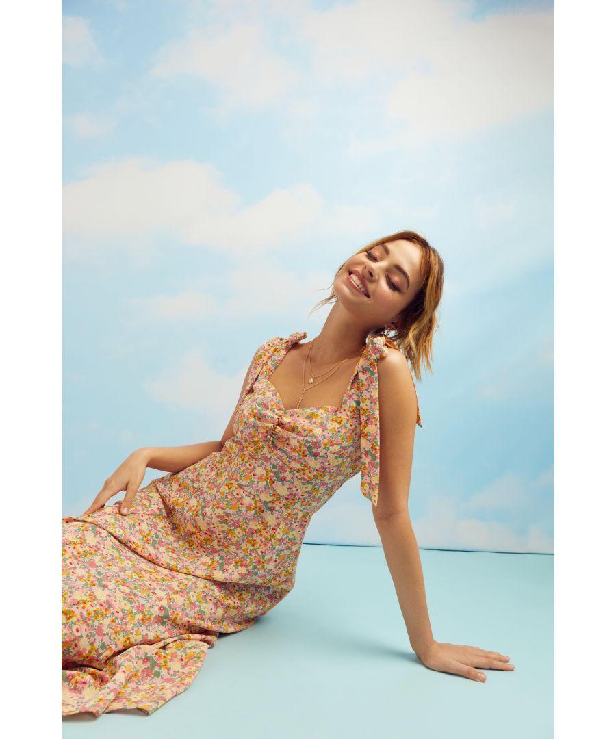 Image for Petite Pink Floral Midi Dress