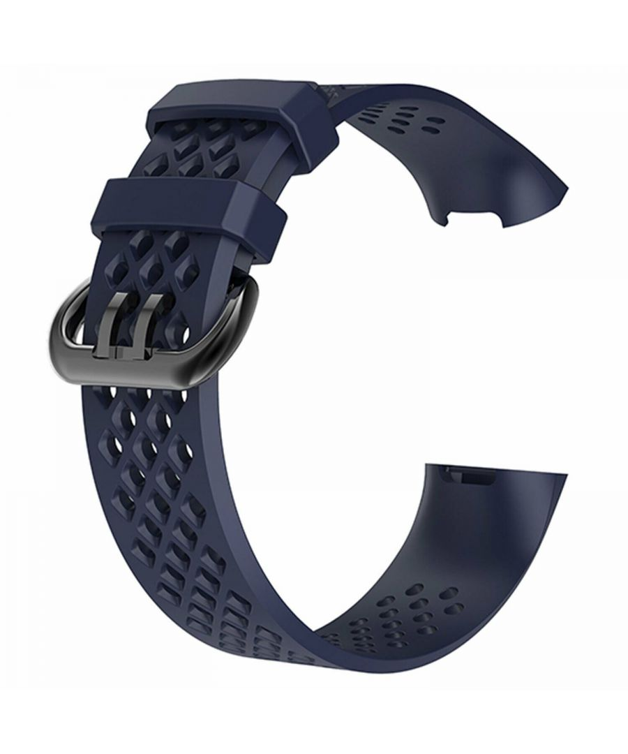 Image for Aquarius Holes Silicone Watch Band for Fitbit Charge 3 Navy Large
