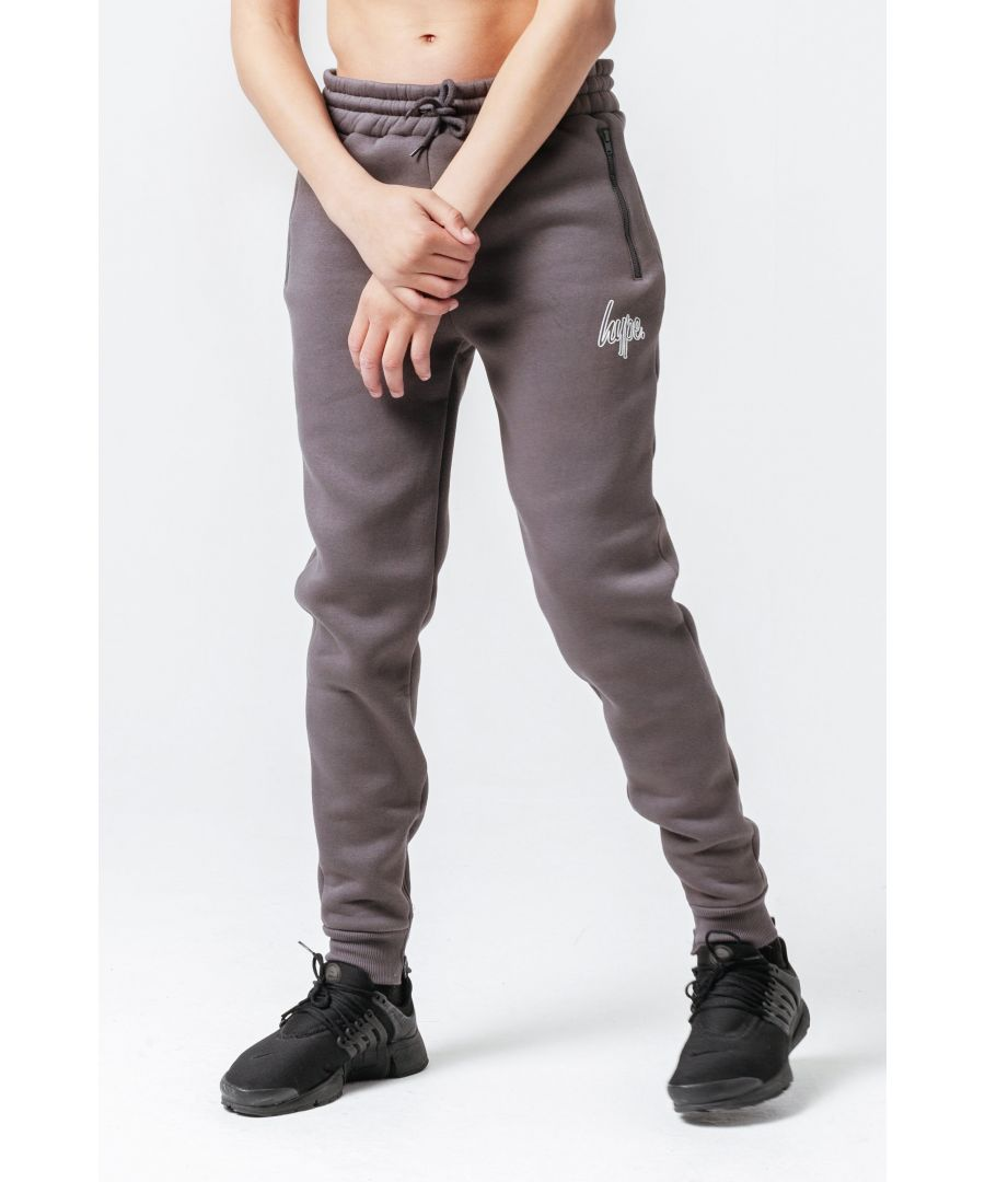 Image for Hype Charcoal Zip Detail Outline Script Kids Joggers
