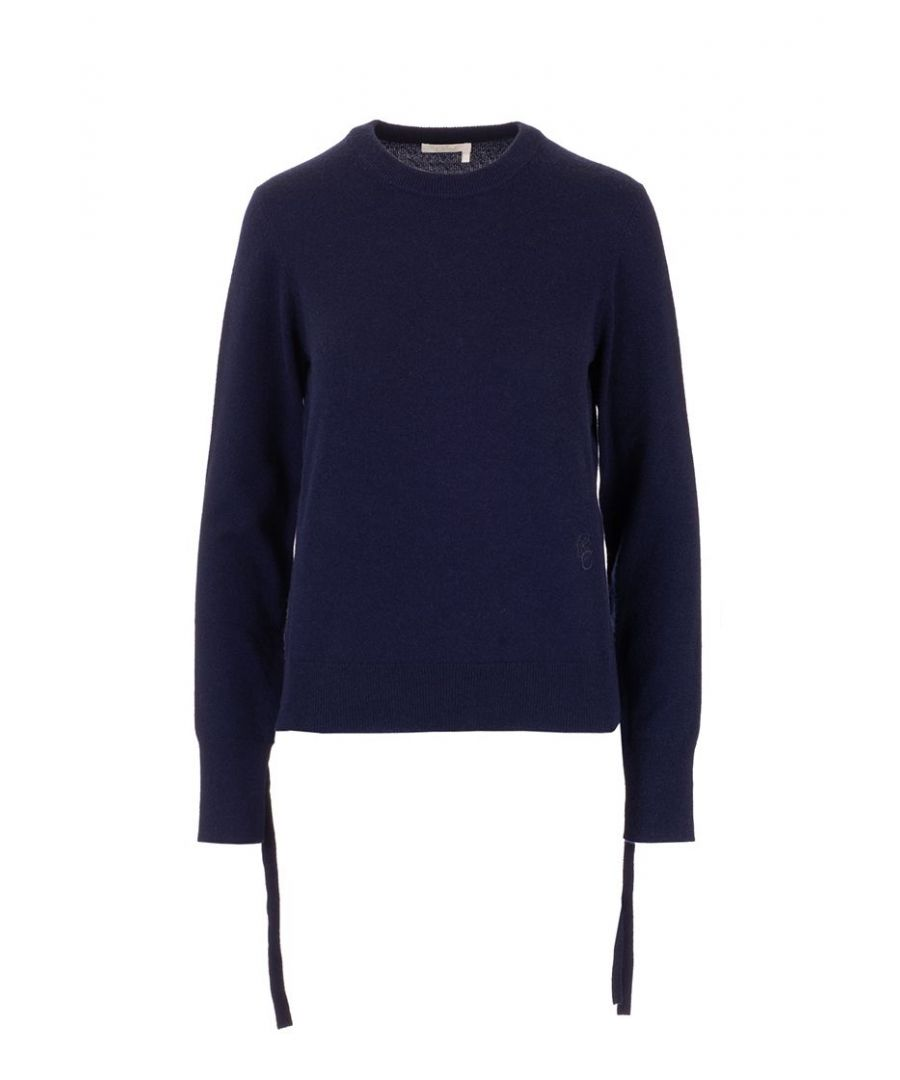 Image for CHLOÉ WOMEN'S CHC20SMP5350048A BLUE CASHMERE SWEATER