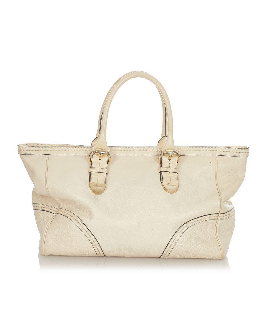 Image for Vintage Gucci Guccissima Signoria Tote Bag White