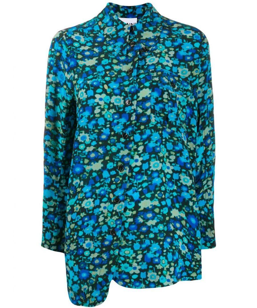 Image for GANNI WOMEN'S F3887697 BLUE VISCOSE SHIRT