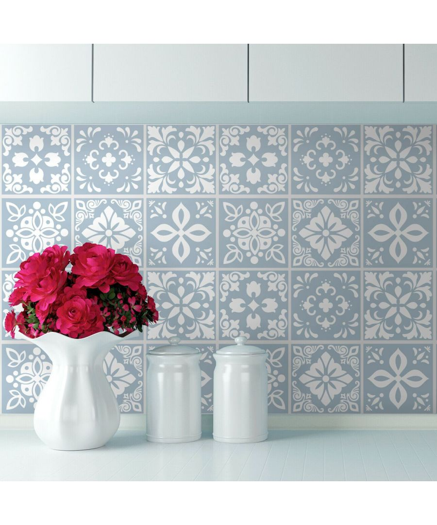 Image for Triana Blue Grey Cemente Spanish Wall Tile Sticker Set - 15 x 15 cm (6 x 6 in) - 24 pcs Tiles Wall Stickers, Kitchen, Bathroom, Living room