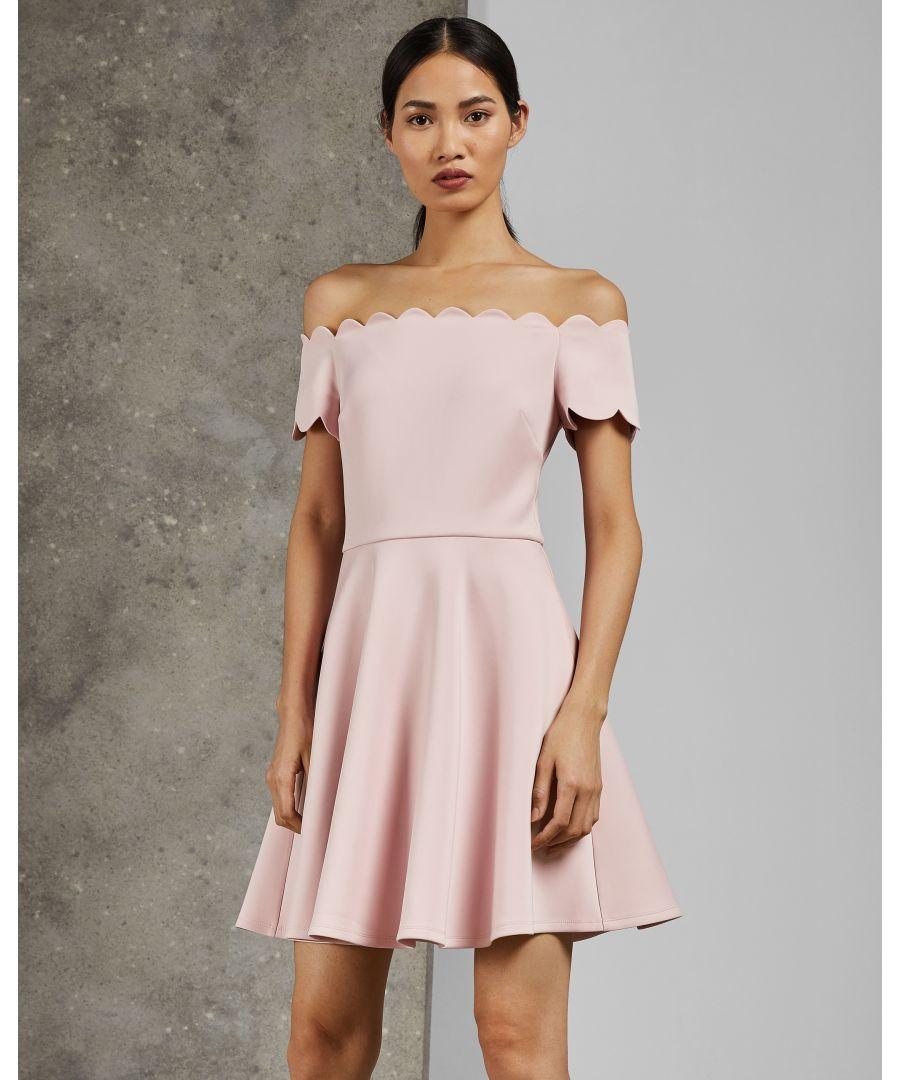 Image for Ted Baker Fellama Bardot Scallop Skater Dress, Light Pink