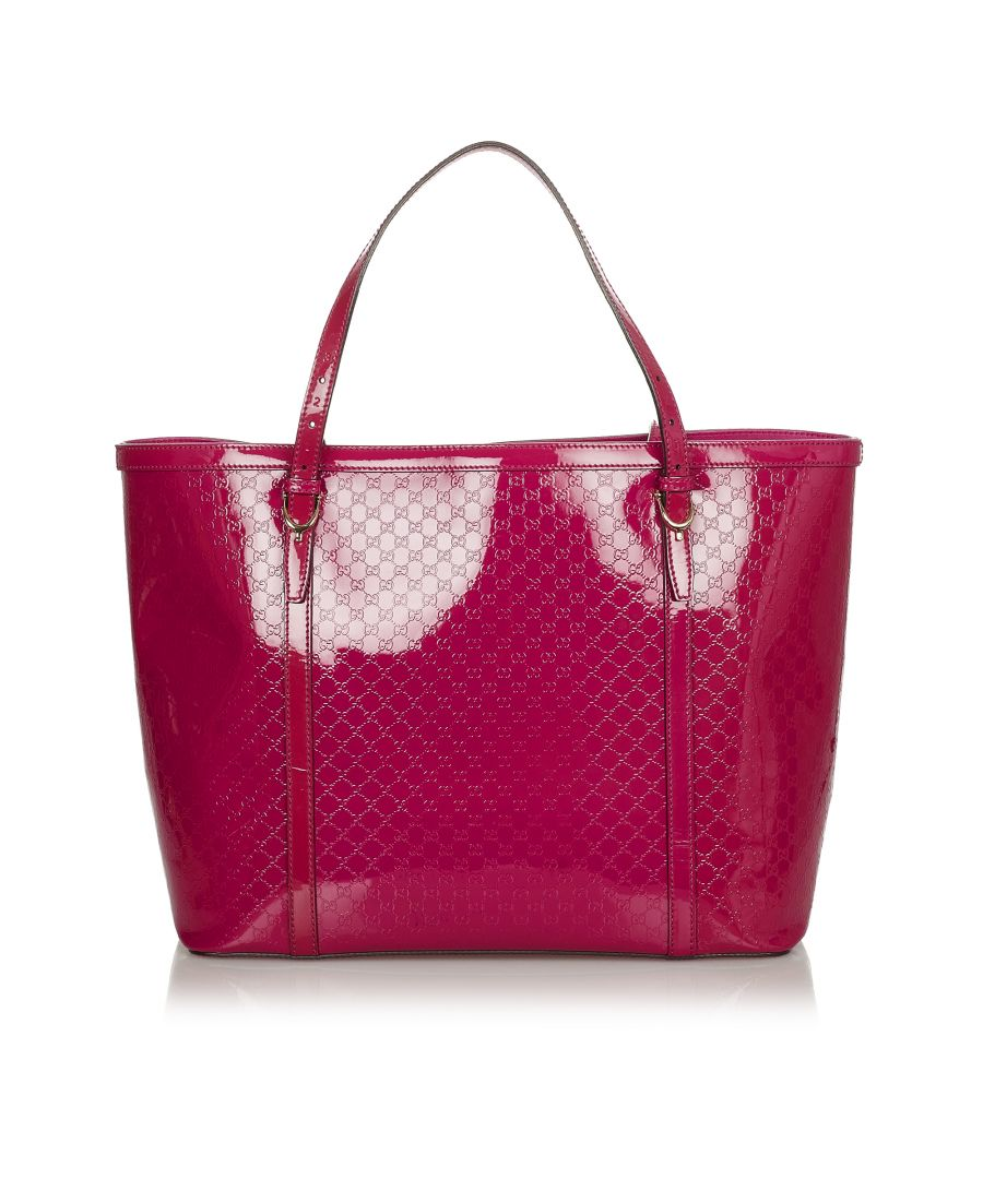 Image for Vintage Gucci Microguccissima Nice Patent Leather Tote Bag Pink