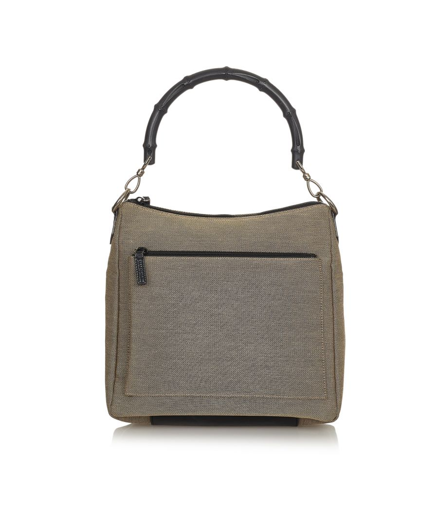 Image for Vintage Gucci Bamboo Canvas Handbag Brown
