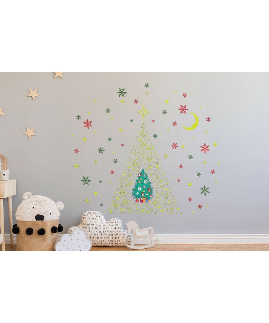 Image for Glow Stars and Colorful Snowflakes with Christmas Friend Tree  Christmas Wall Stickers, Kitchen, Bathroom, Living room, Self-adhesive, Decal