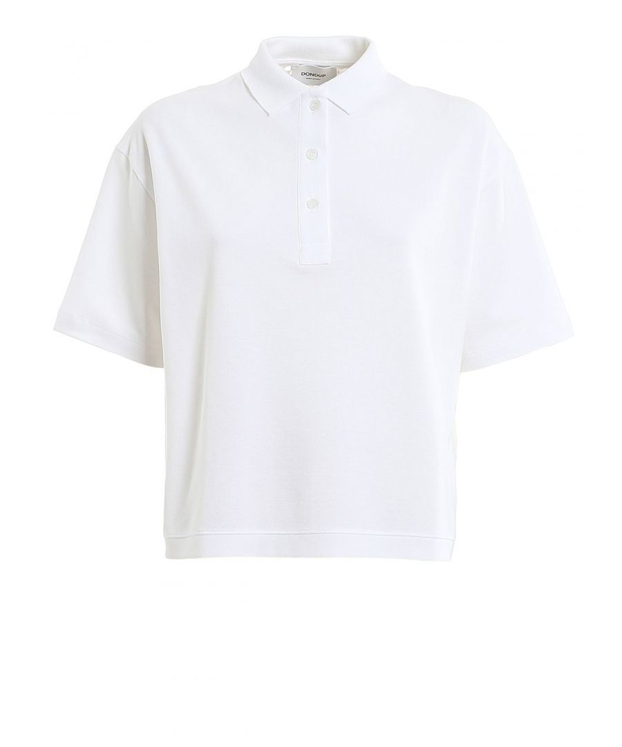 Image for DONDUP WOMEN'S S835JF0255DZG6DD000 WHITE COTTON POLO SHIRT