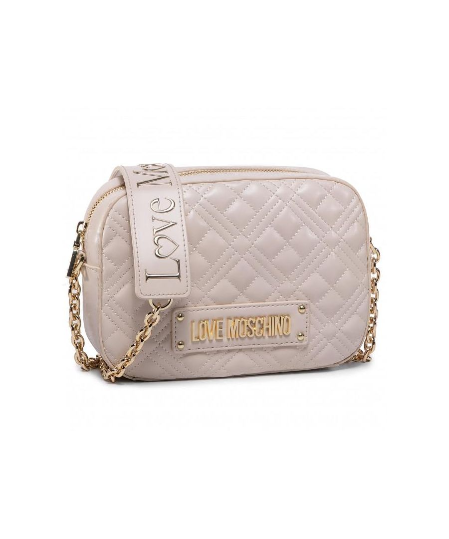 Image for Love Moschino Quilted Small Cross Body Bag in Beige