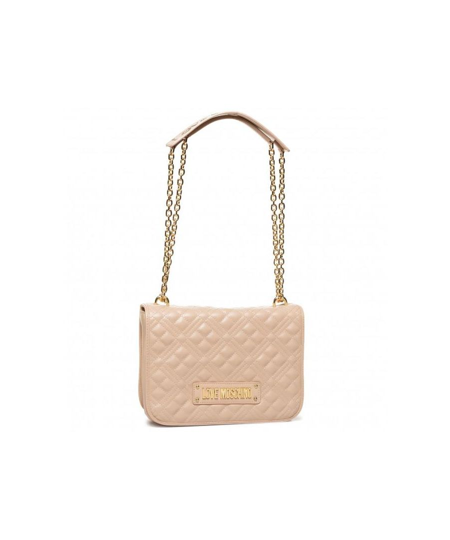 Image for Love Moschino Large Quilted Crossbody with LOVE MOSCHINO Strap in Beige
