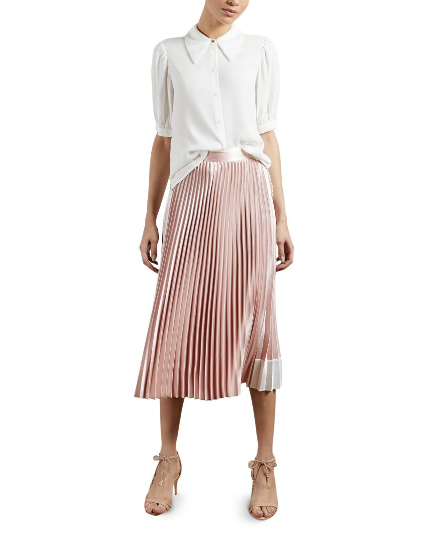 Image for Ted Baker Glaycie Contrast Panel Pleated Midi Skirt, Pale Pink