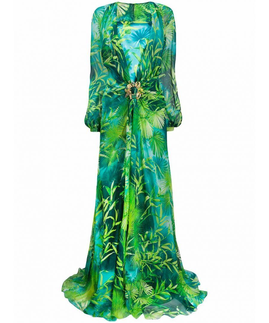 Image for VERSACE WOMEN'S A86651A234695A7488 GREEN SILK DRESS