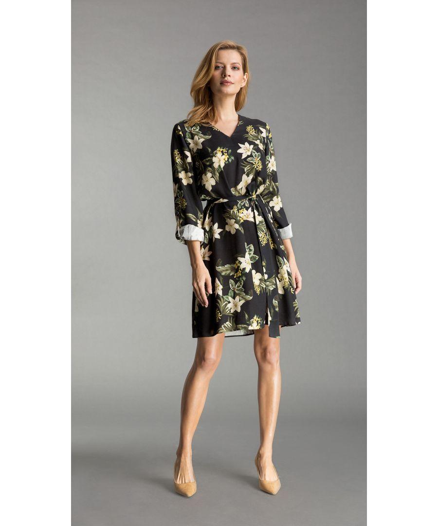 Image for Nicole Floral Black Dress