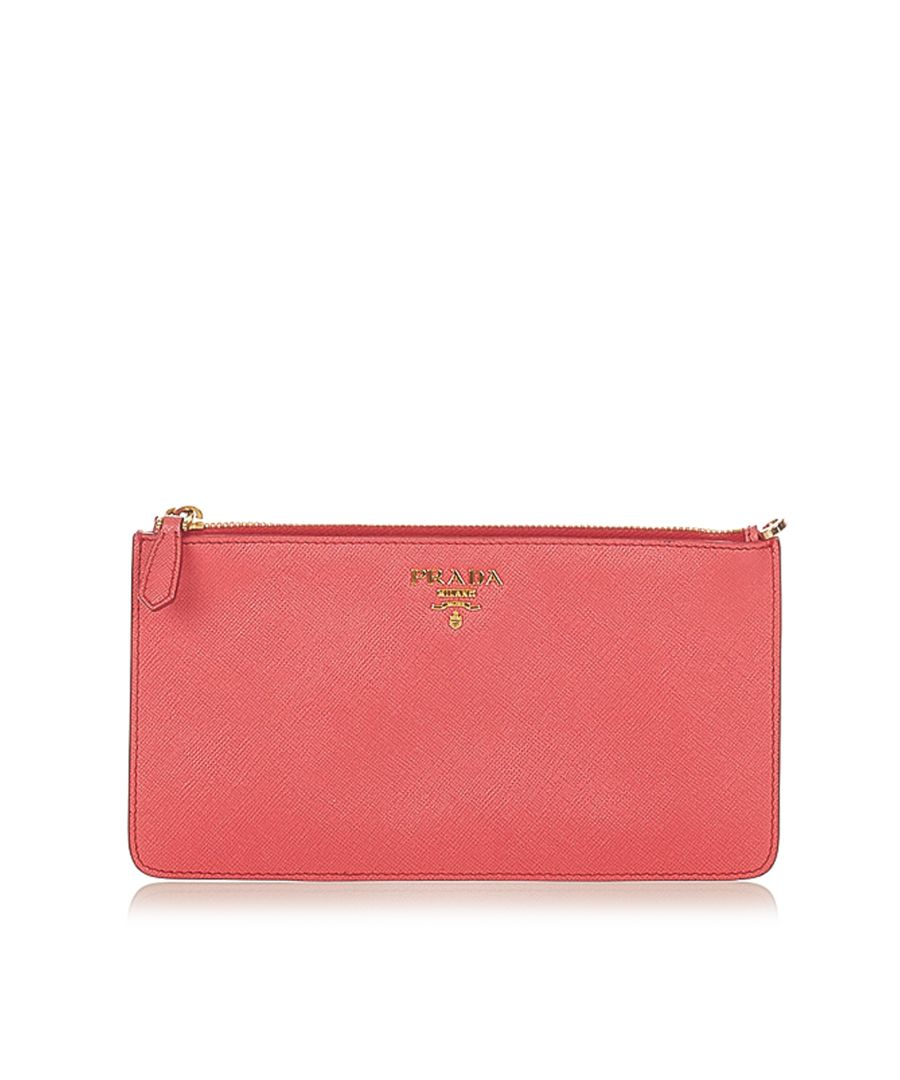 Image for Vintage Prada Saffiano Clutch Bag Red
