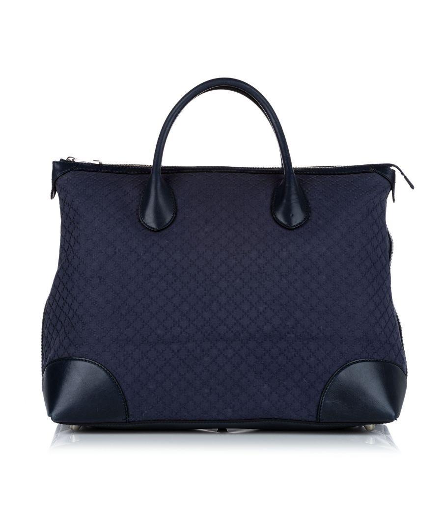 Image for Vintage Gucci Diamante Canvas Travel Bag Blue