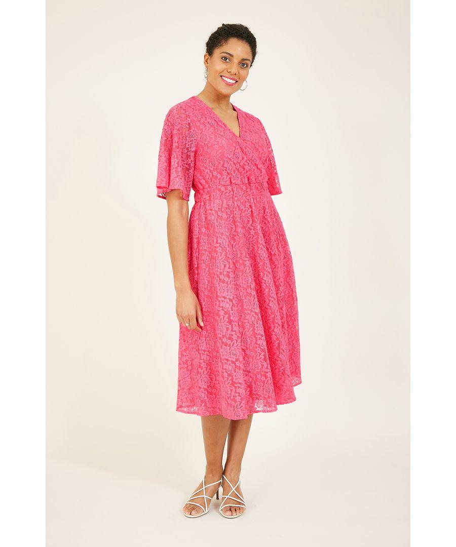 Image for Yumi Pink Lace Midi Wrap Dress
