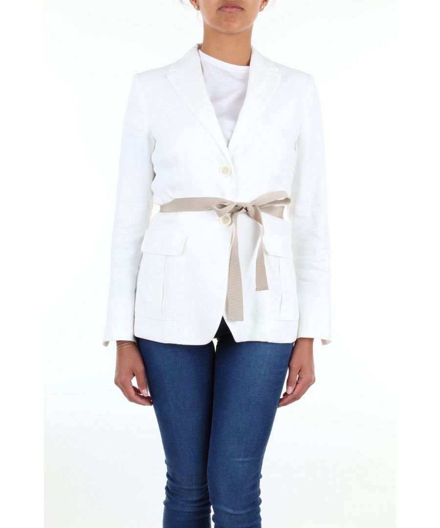 Image for LES COPAINS WOMEN'S 0J6040BIANCO WHITE LINEN BLAZER