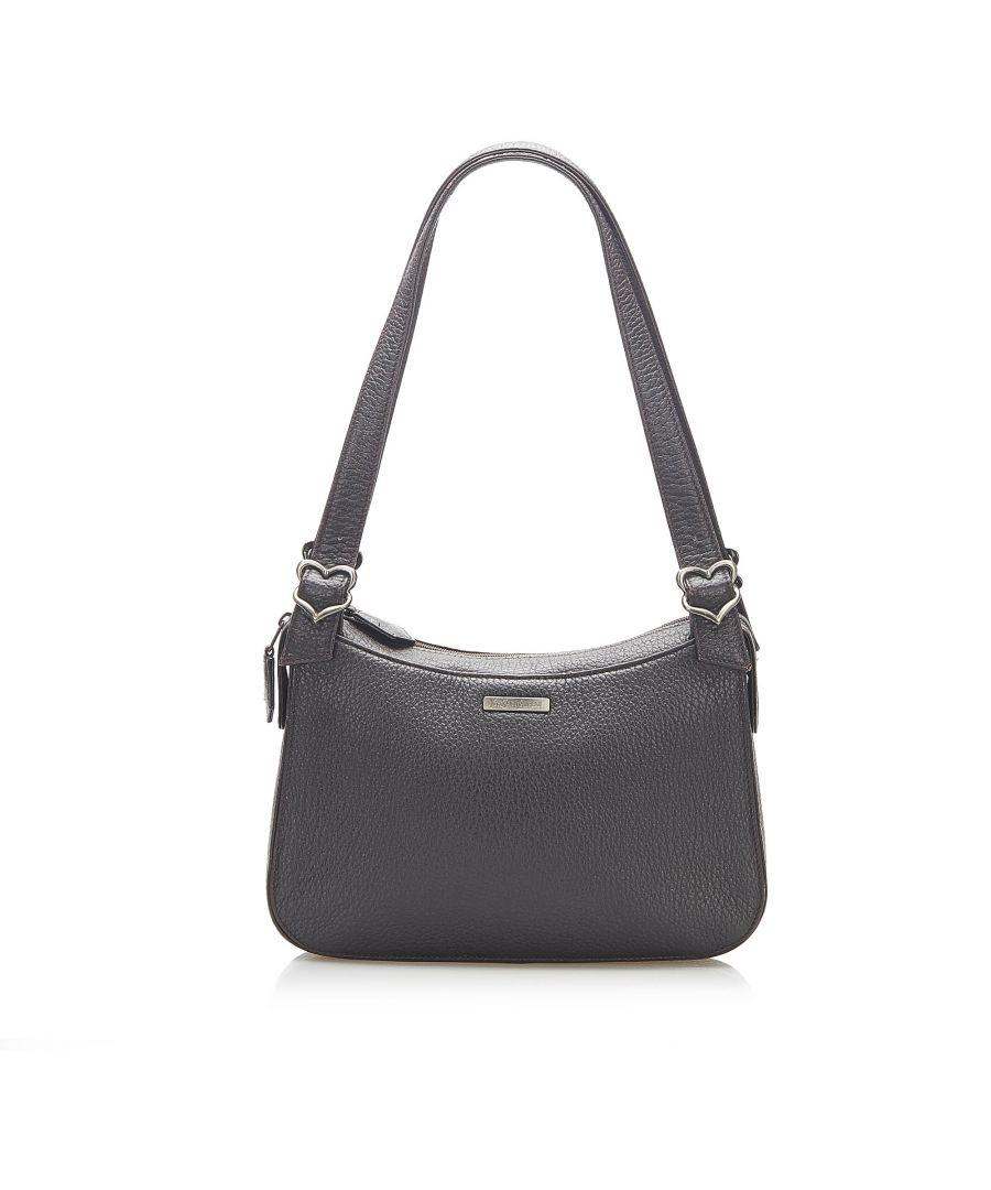 Image for Vintage YSL Leather Shoulder Bag Black