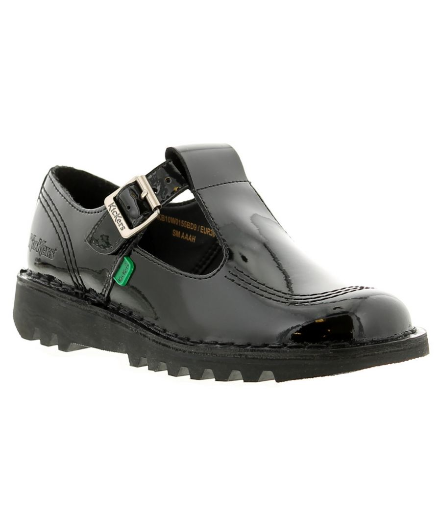 Image for Kickers Kick Lo Aztec Leather Older Girls School Shoes Black Patent