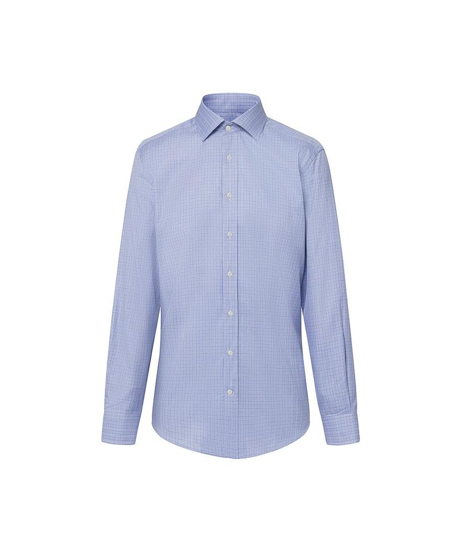 Image for Men's Hackett, Moulinet Check Single Cuff Shirt in Blue