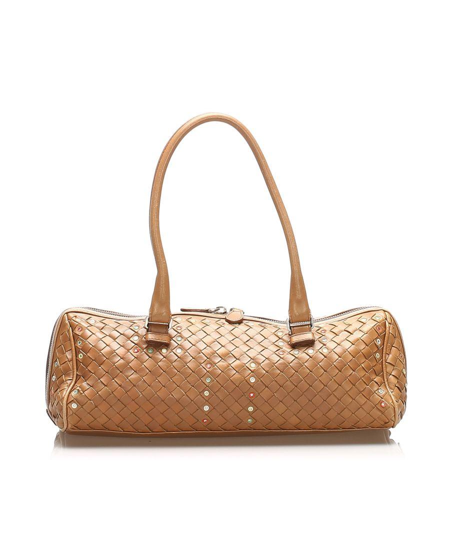 Image for Vintage Bottega Veneta Intrecciato Leather Boston Bag Brown