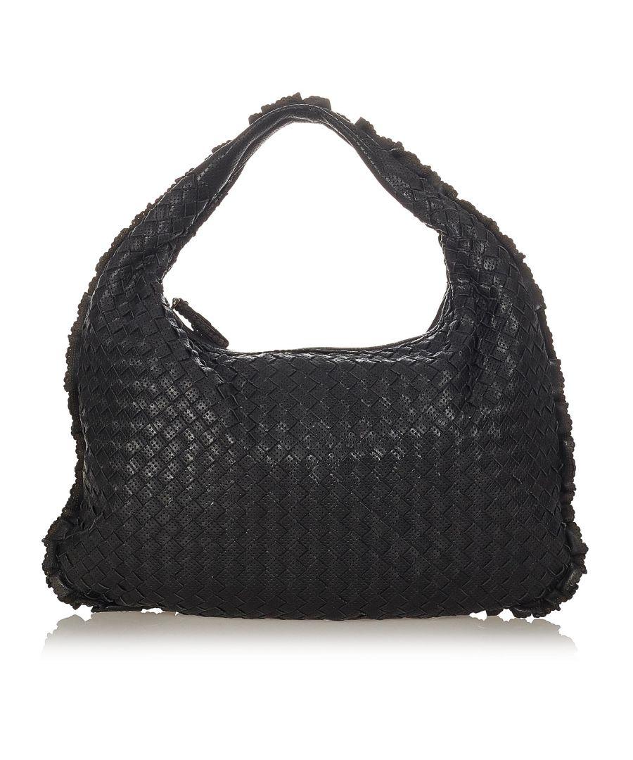 Image for Vintage Bottega Veneta Intrecciato Leather Hobo Bag Black