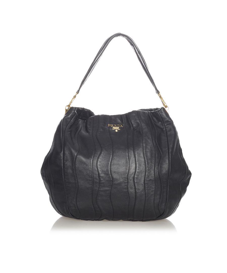 Image for Vintage Prada Nappa Waves Shoulder Bag Black