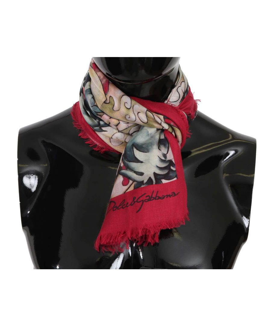 Image for Dolce & Gabbana Multicolor Japanese Dragon Print Wrap Scarf