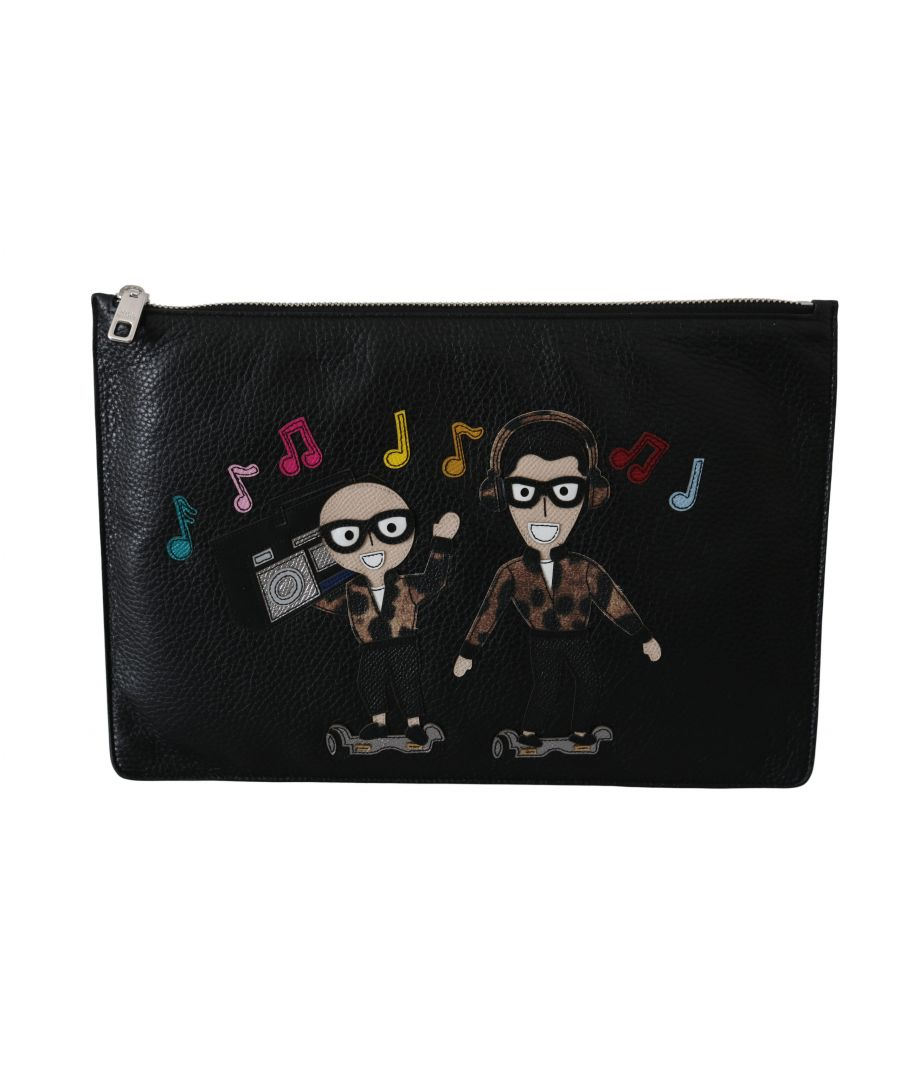 Image for Dolce & Gabbana Black Music Lover Zipper Clutch Hand Pouch Calfskin Bag