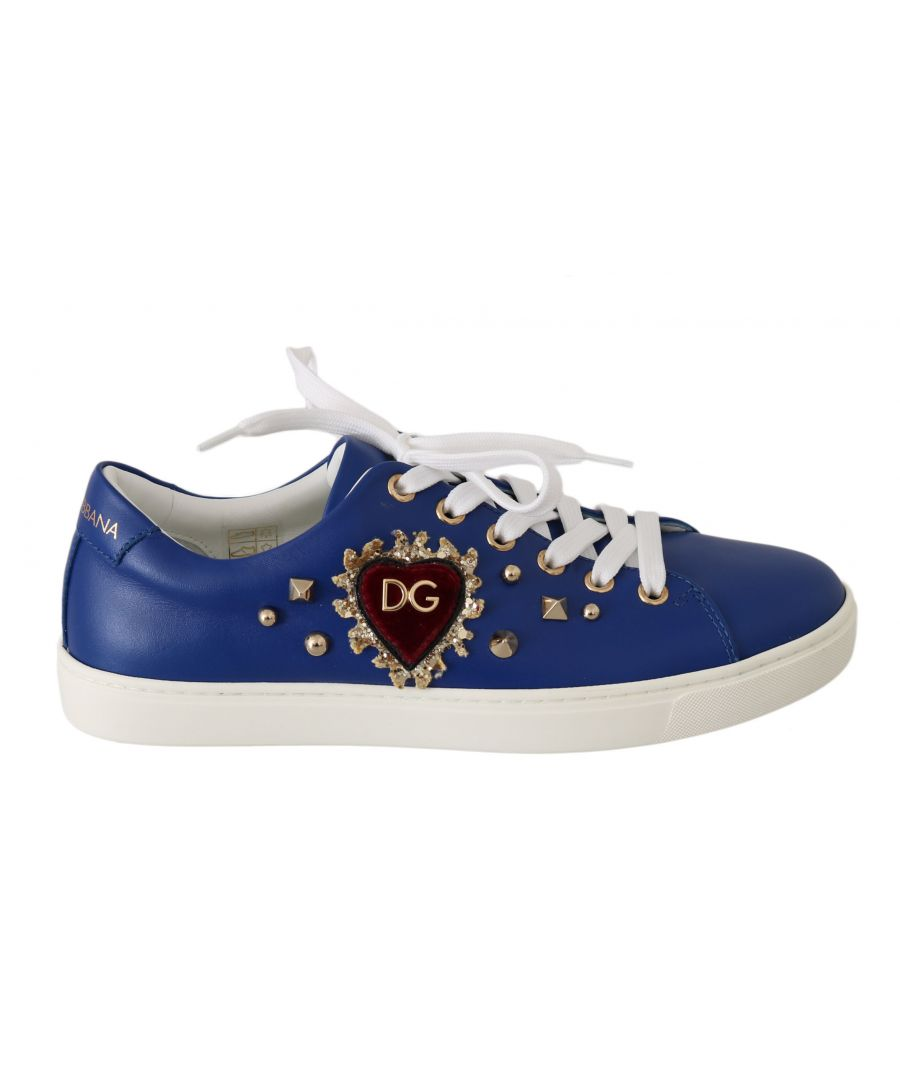 Image for Dolce & Gabbana Blue Leather Gold Red Heart  Shoes Sneakers