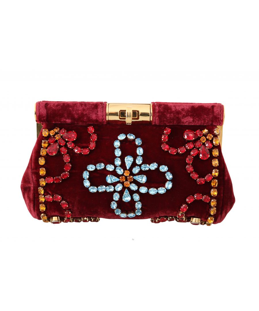 Image for Dolce & Gabbana Red Velvet Gold Ricamo Crystal Party Clutch  Purse