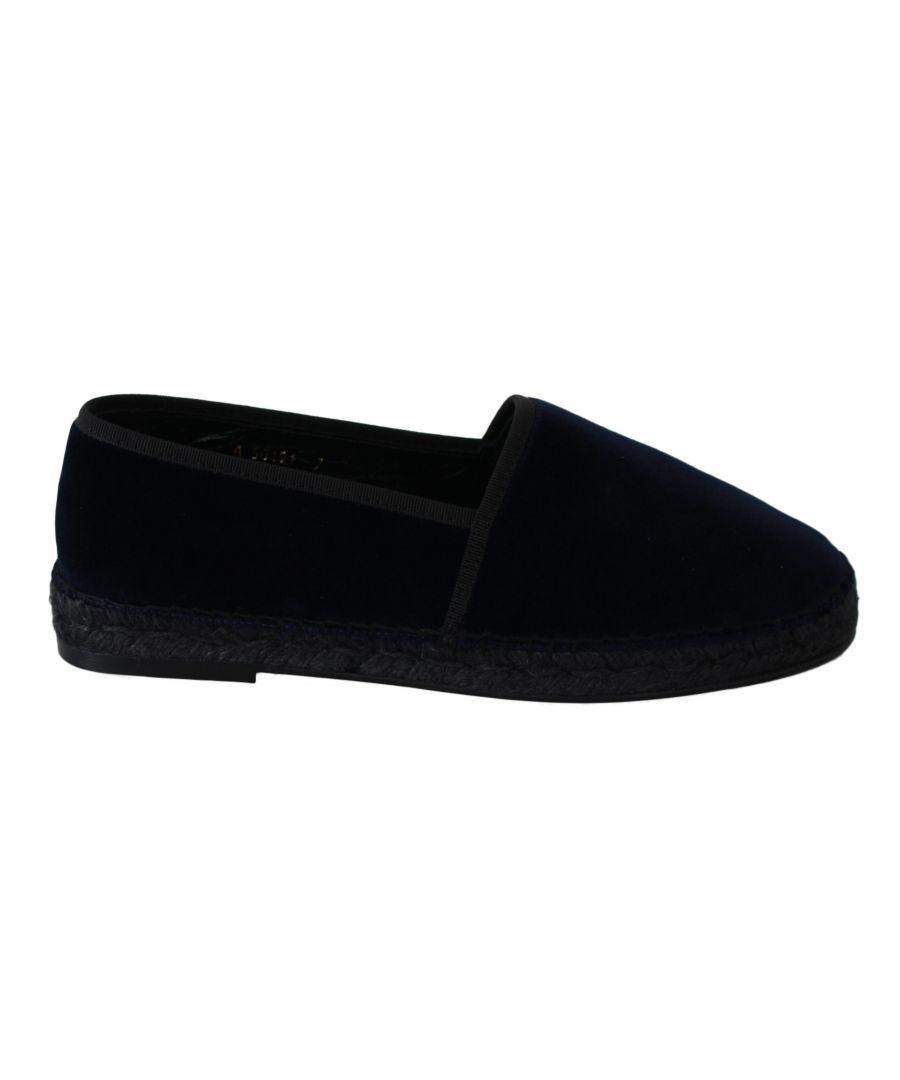 Image for Dolce & Gabbana Blue Velvet Leather Espadrilles Flats Shoes
