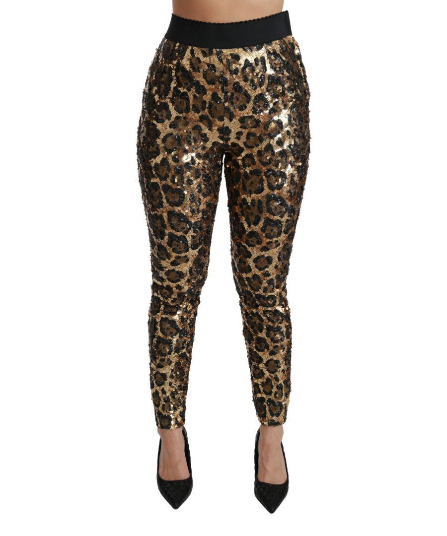 Image for Dolce & Gabbana Gold Brown Leopard Sequined Legging Pants