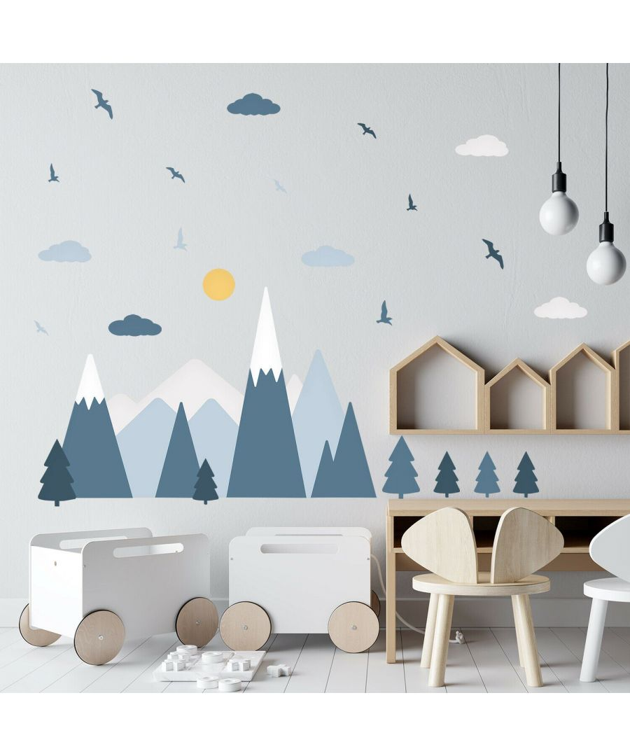 Image for Blue Mountain Landscape Wall Stickers, Self Adhesive, DIY, Decoration, Kids Room, Nursery, Children's room, Boy, Girl