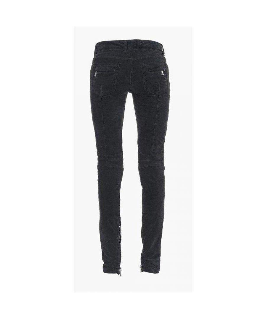 Image for Balmain Black Low Rise Velvet Biker Jeans