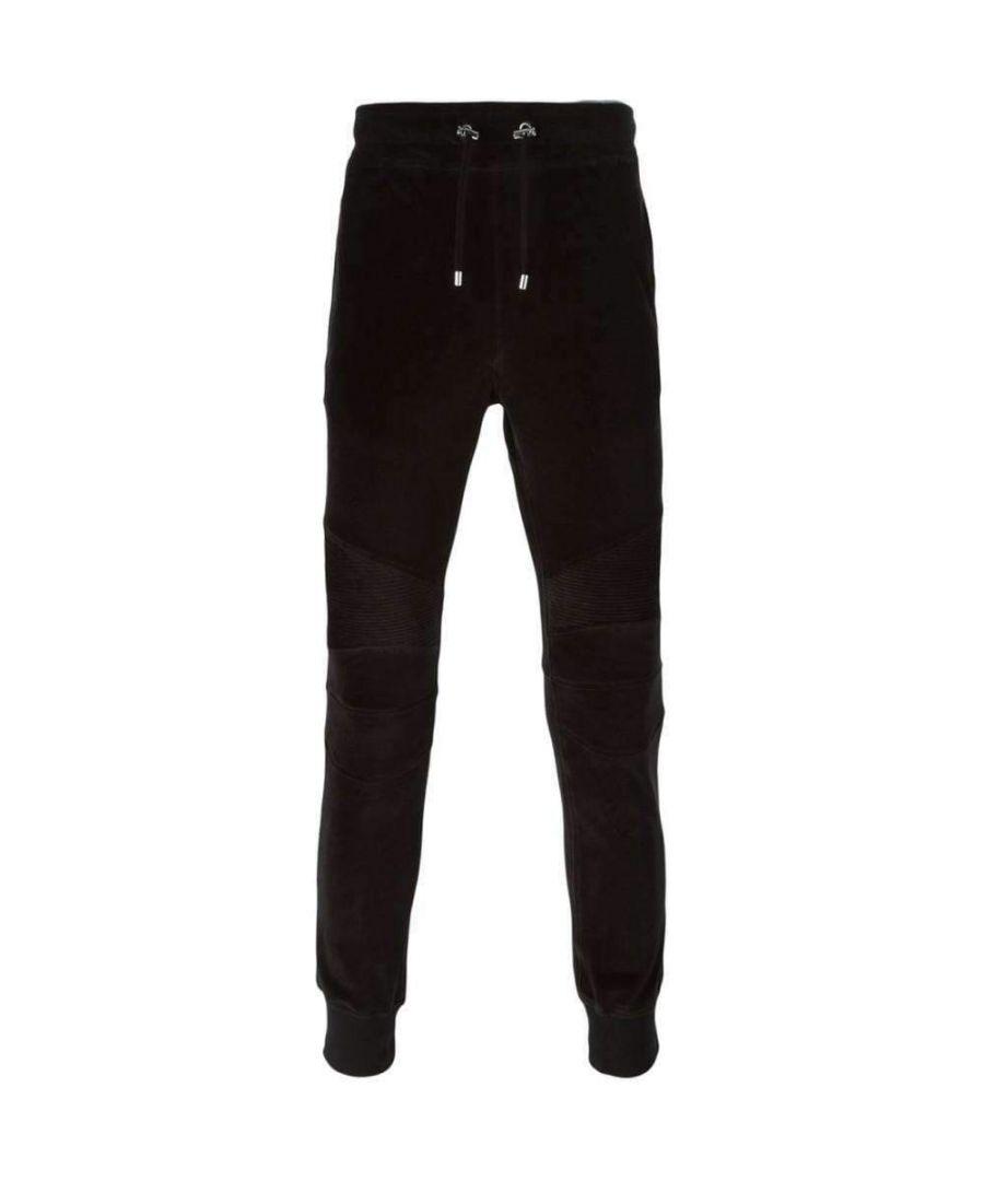 Image for Balmain Black Velvet Biker Track Trousers