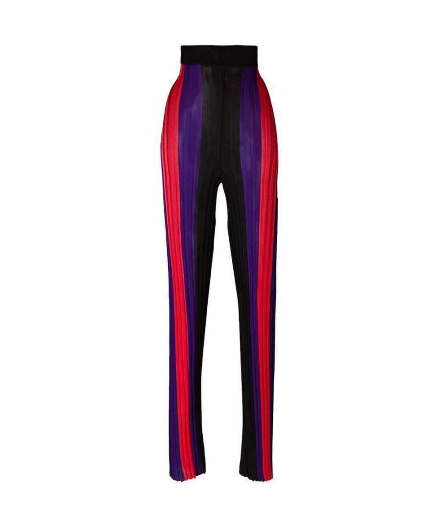 Image for Balmain High Waist Ribbed Striped Pants