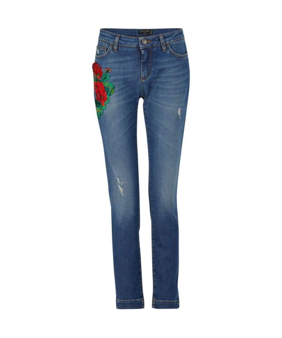Image for Dolce & Gabbana Embroidery Skinny-fit Jeans
