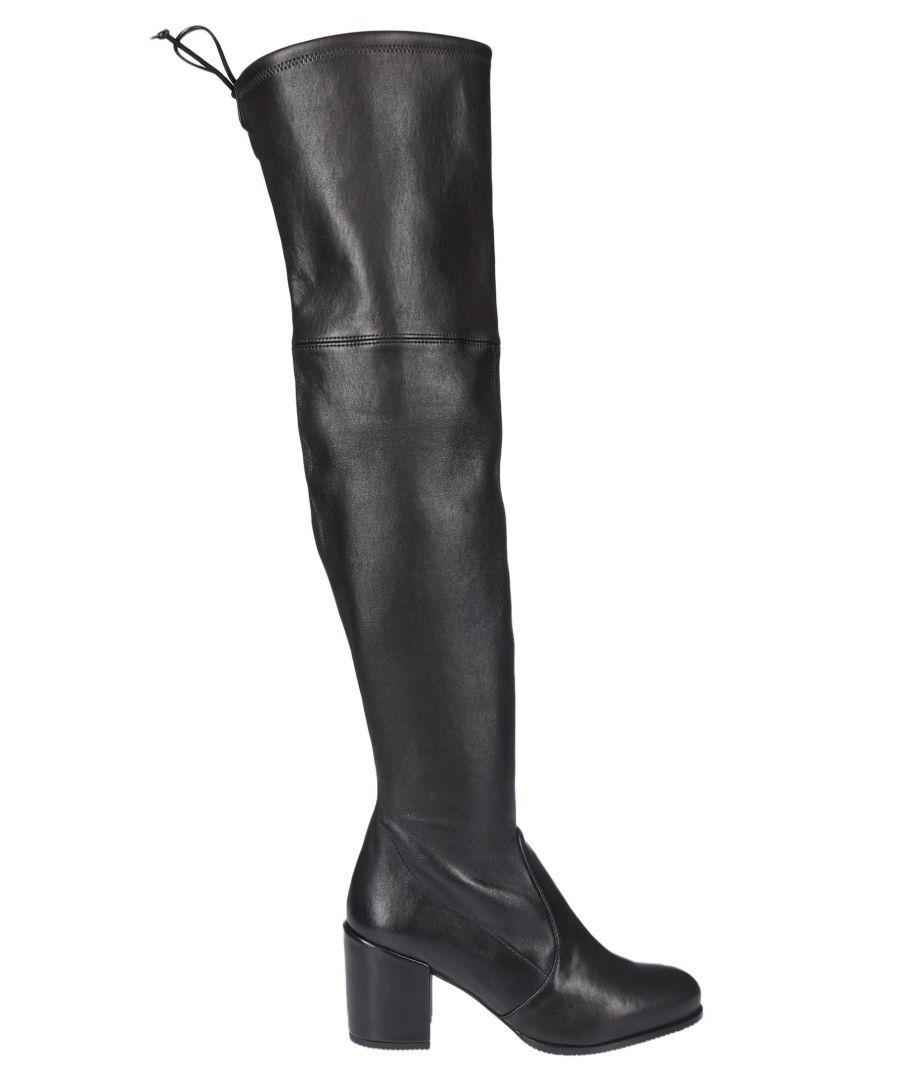 Image for STUART WEITZMAN WOMEN'S 1L23513 BLACK LEATHER BOOTS