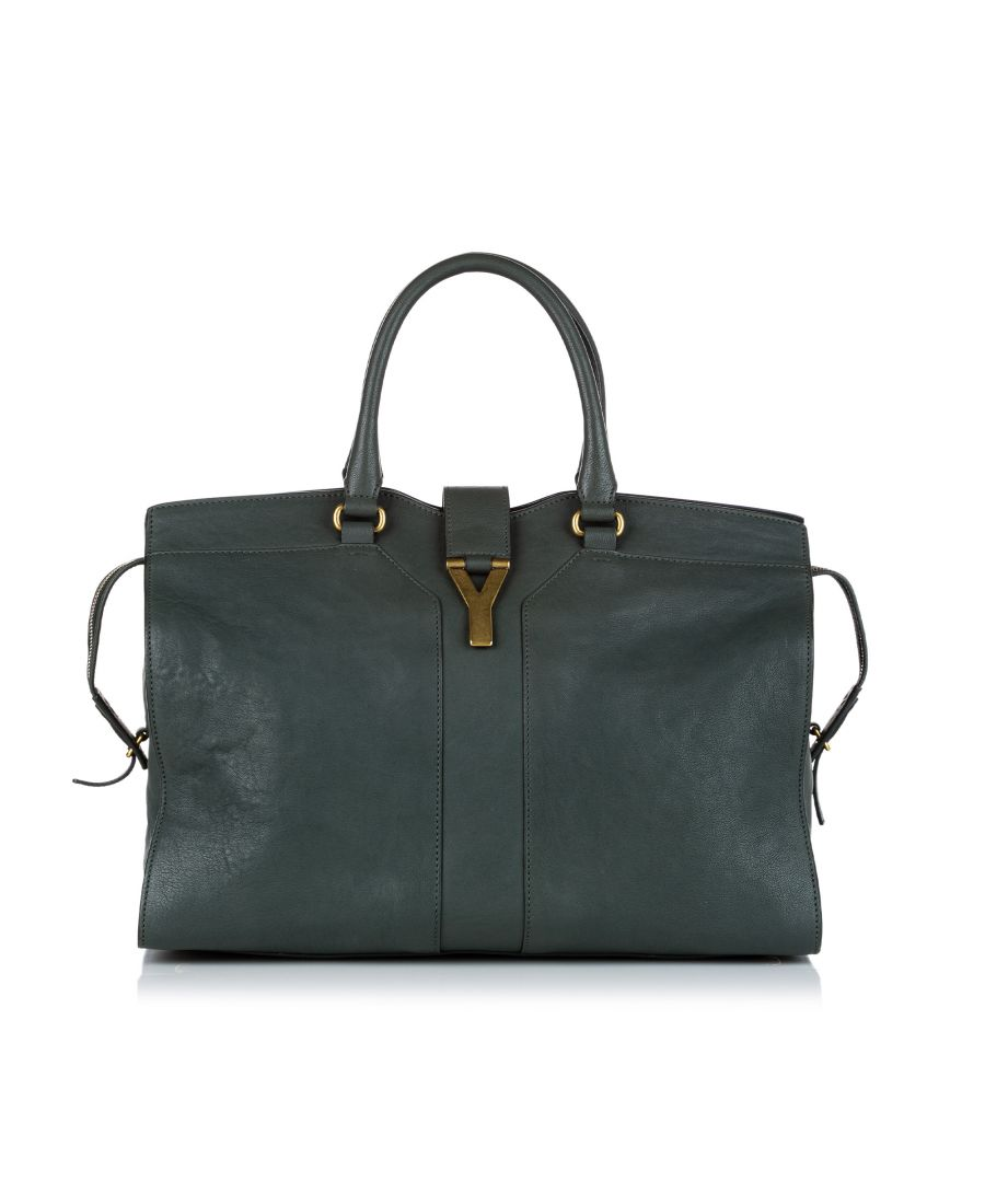 Image for Vintage YSL Cabas Chyc Leather Tote Bag Green