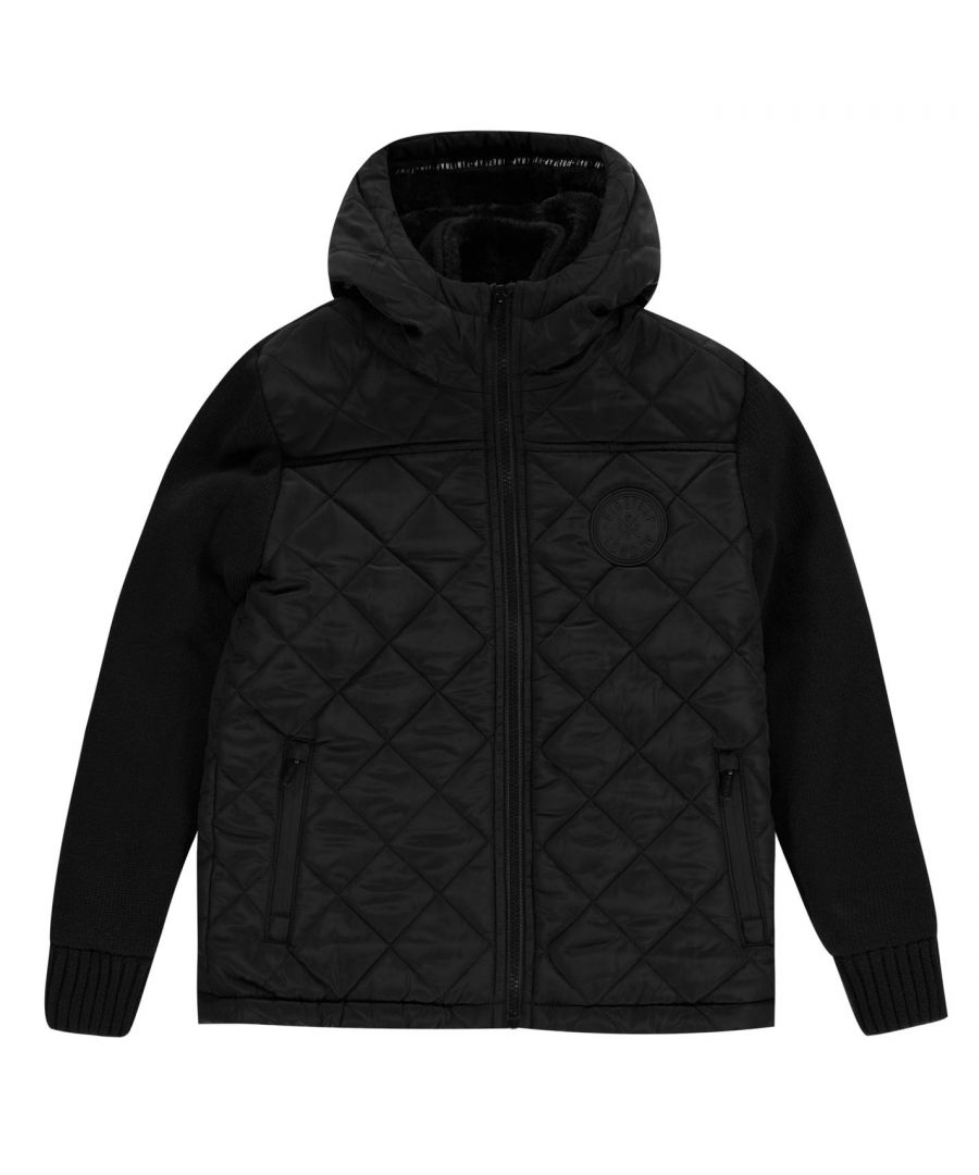 Image for Firetrap Boys Childrens Sartorial Quilted Knit Hooded Winter Jacket Outerwear