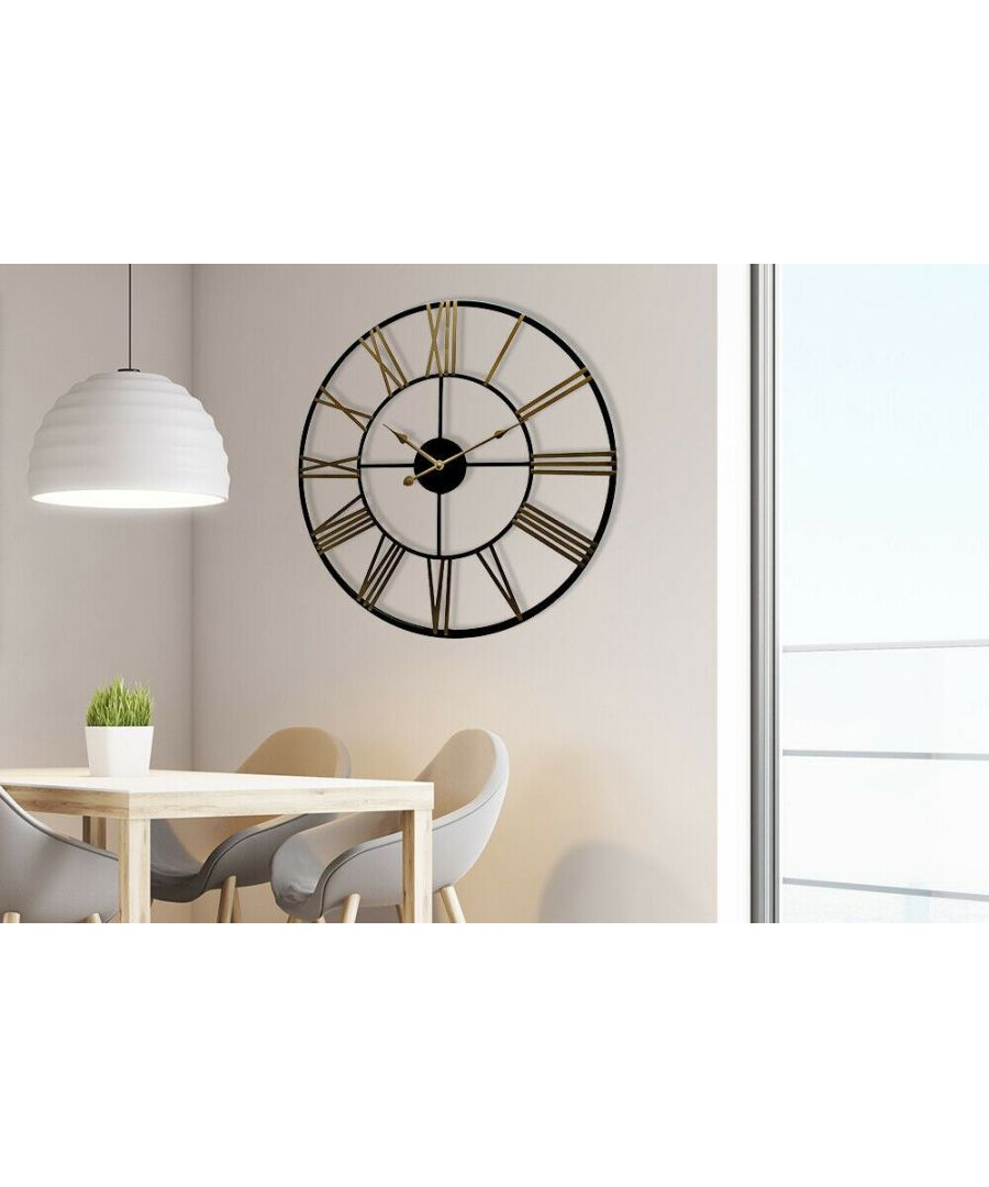 Image for Walplus Rustic Industrial Slim Black and Gold Iron Wall Clock 73cm clock, Bedroom, Living room, Modern, Home office essential, Gift