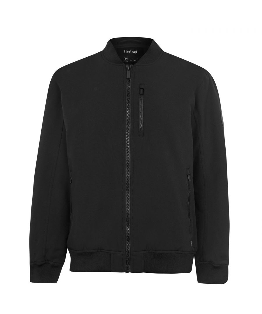 Image for Firetrap Mens Bomber Jacket Ribbed Neck Long Sleeve Full Zip Chest Pocket Top