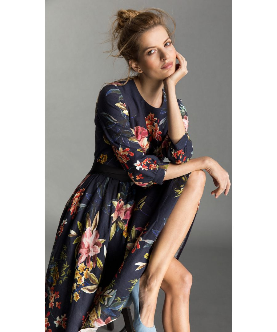 Image for Yvonne Floral Navy Dress
