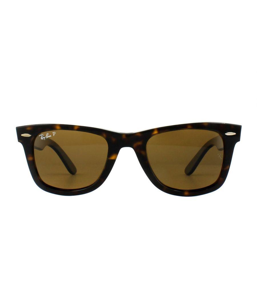 Image for Ray-Ban Sunglasses Wayfarer 2140 Tortoise Brown Polarized 902/57 Medium 50mm