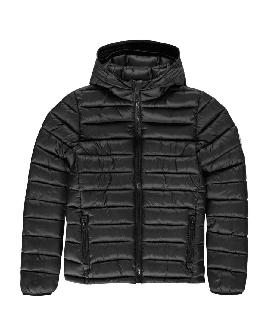 Image for SoulCal Boys Micro Bubble Hooded Jacket Junior Padded Elasticated Chin Guard Top