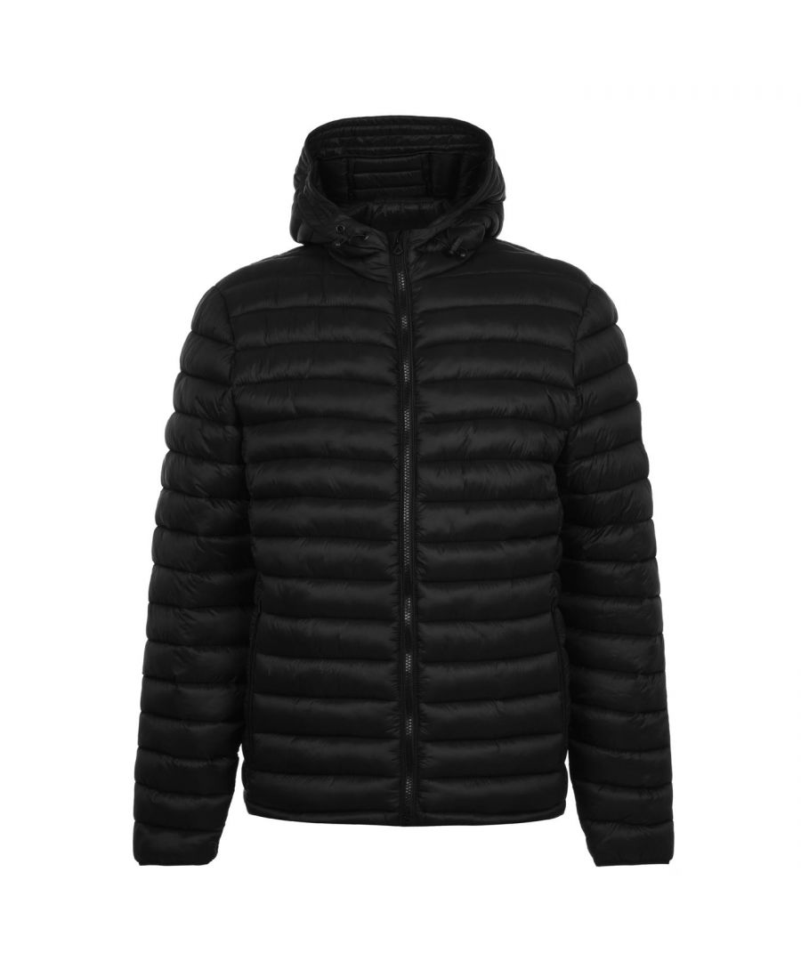 Image for SoulCal Mens Micro Bubble Jacket Padded Coat Top Long Sleeve Lightweight Hooded